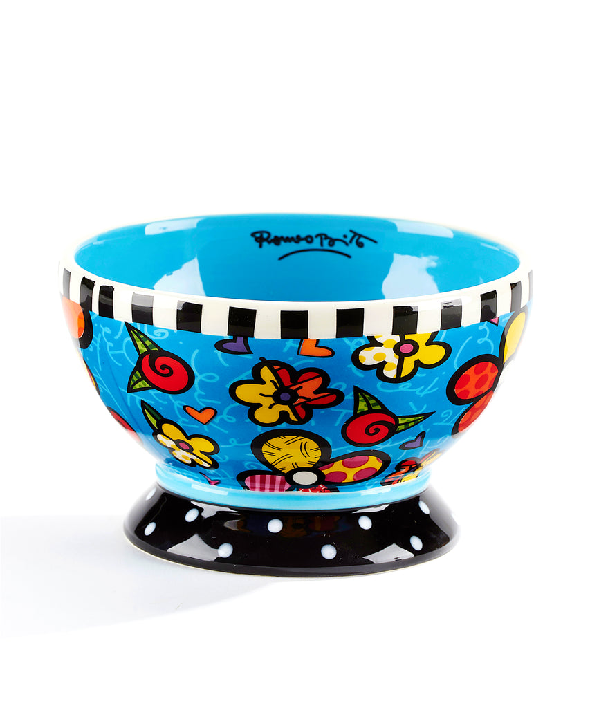 Romero Britto Ceramic Ice Cream Bowl- Flowers