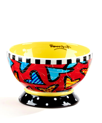 Romero Britto Ceramic Ice Cream Bowl- Hearts