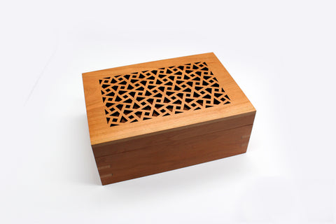 Handcrafted Cherry Wood Box with Filigree Arabesque Design