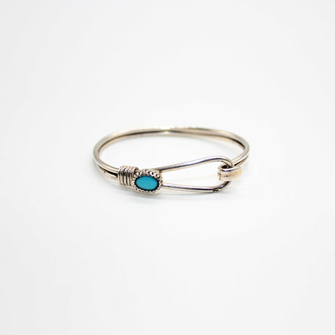 Pure Silver Bangle with Turquoise