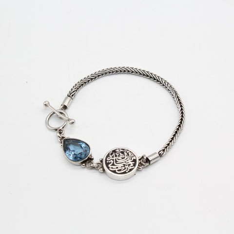 Pure Silver Bracelet Roman Chain with Aquamarine and Calligraphy