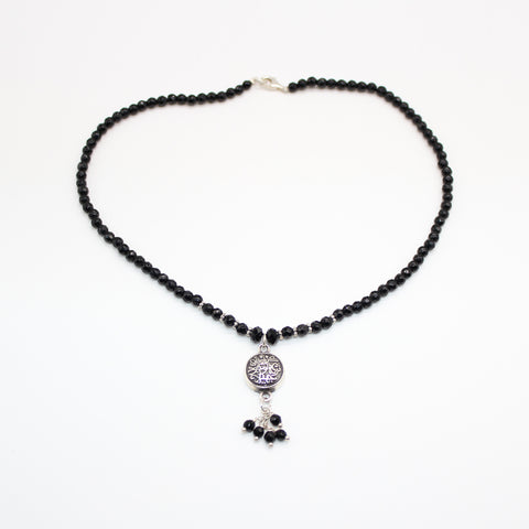 Pure Silver Necklace Onyx with Silver Pendant Calligraphy