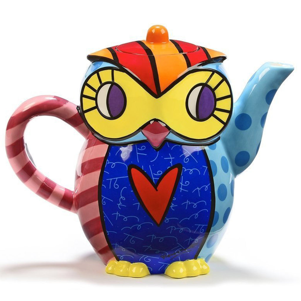 Romero Britto Ceramic Large Teapot Owl