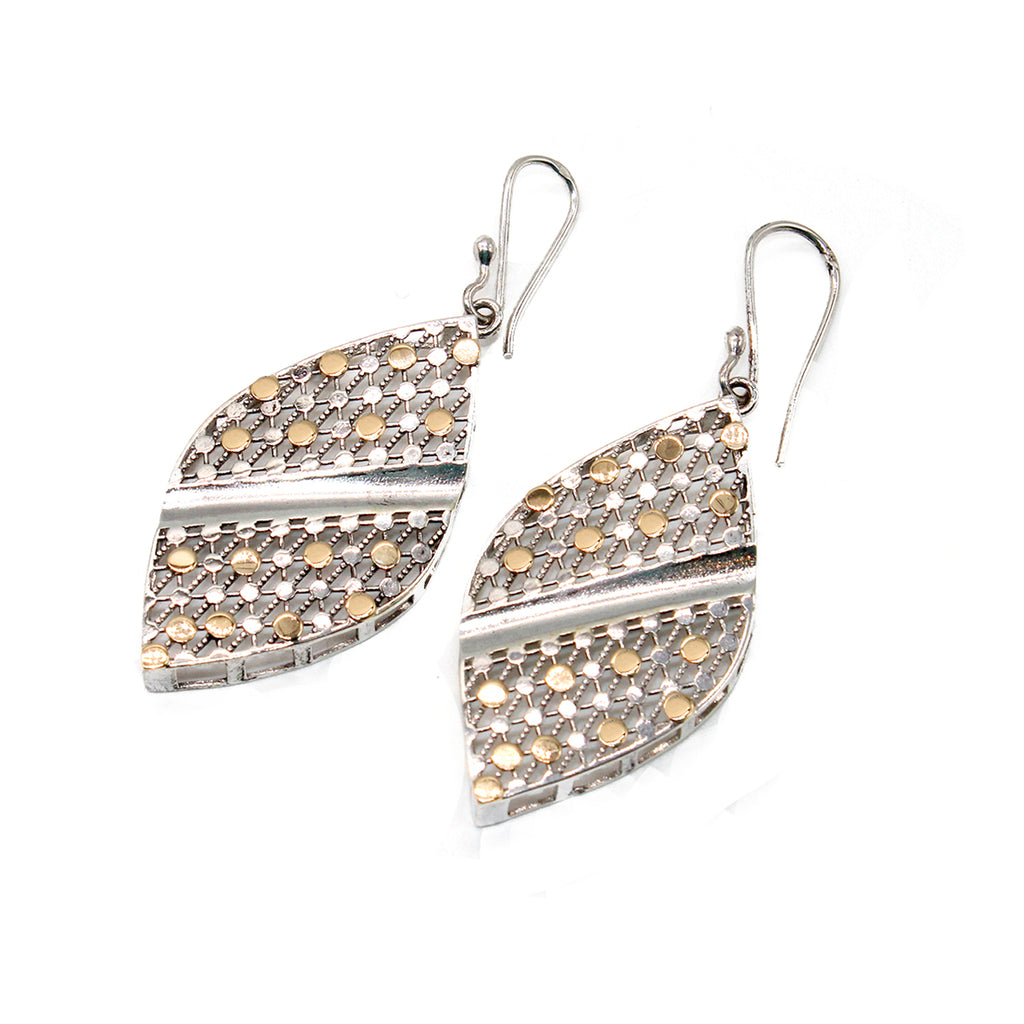 Arabian Silver Jewellery Earrings with Gold Leaf