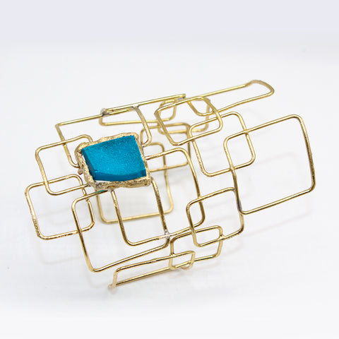 Opus Bangle Bronze with Blue Stone Large