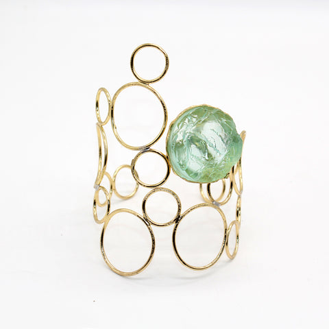 Opus Bangle Bronze with Light Green Crystal