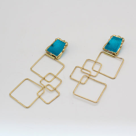 Opus Earrings Bronze with Blue Stone