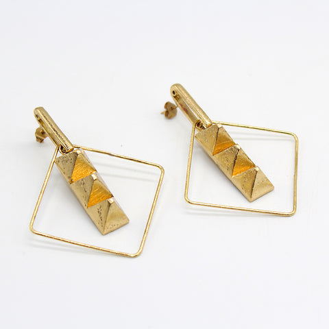 Opus Earrings Bronze Pyramid