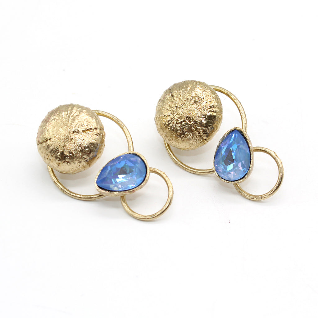 Opus Earrings Bronze with Crystal - Blue