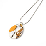 Fashion Jewellery Oclys Necklace Silver and Yellow Wood with Mother of Pearl