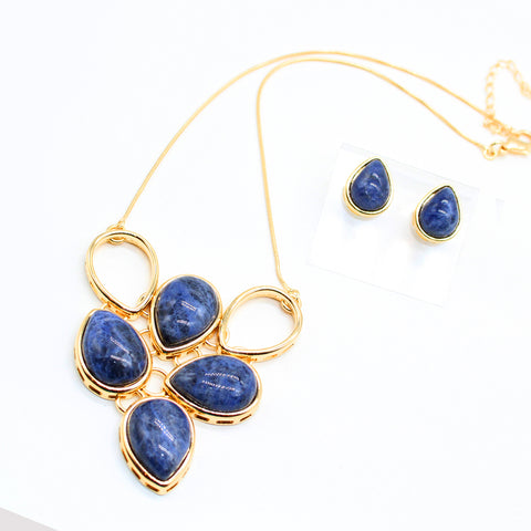 Fashion Jewellery Necklace and Earrings Lapis Lazuli.