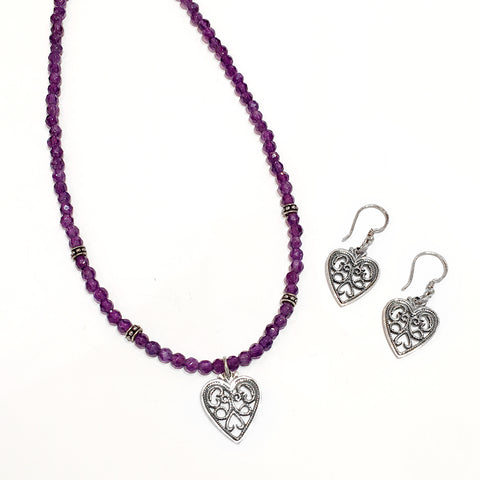 Scarabee Silver Set Necklace and Earrings Amethyst