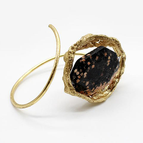 Opus Bangle Bronze with Brown & Black Stone