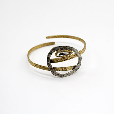 Opus Bangle Bronze with Circle & Crystal Inside