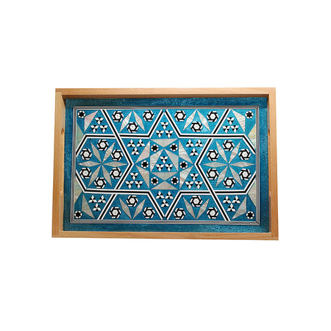 MOP Tray Rectangle Large Turquoise