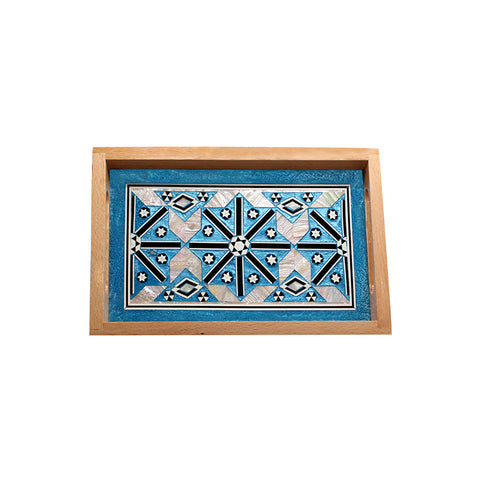 MOP Tray Rectangle Medium Turquoise