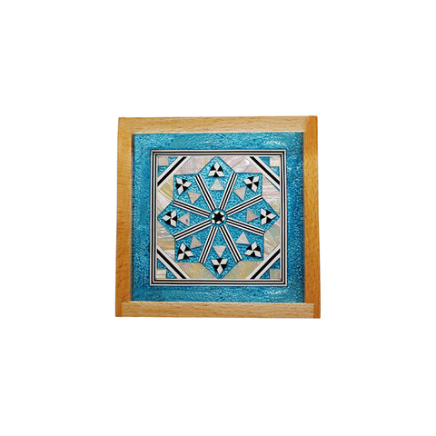 MOP Tray  Square Small Turquoise