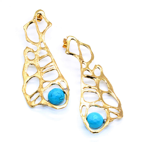 Opus Bronze Earrings  Filigree with Turquoise