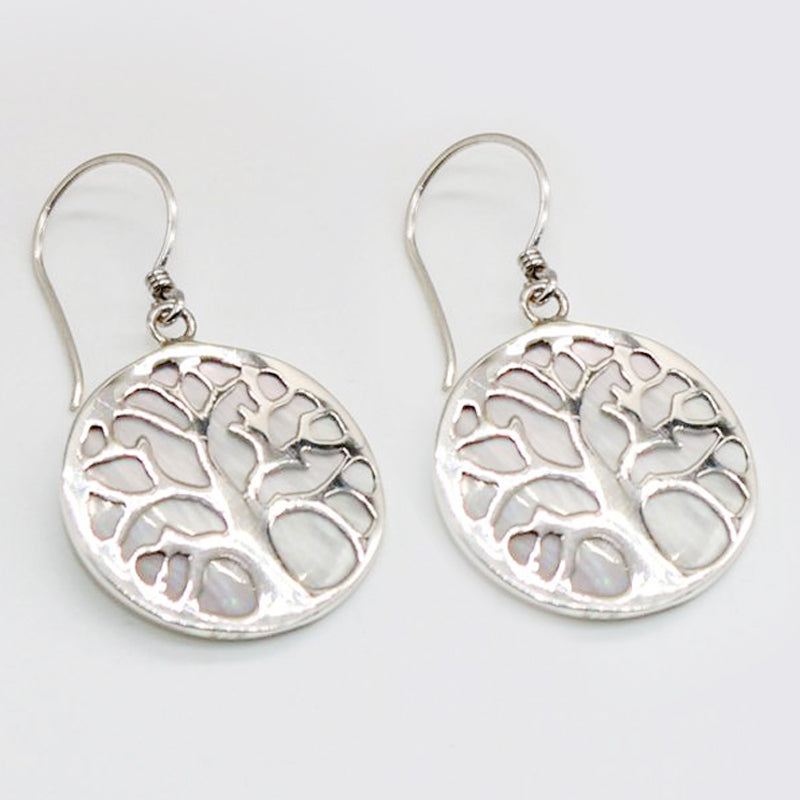 Sterling Silver Earrings Tree of Life Mother of Pearl