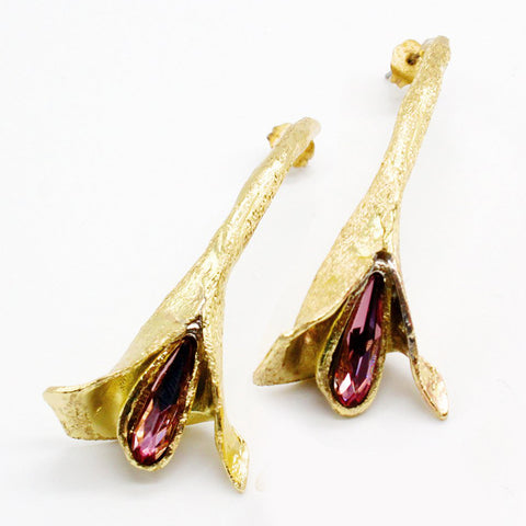 Opus Earrings Bronze with Purple Crystal
