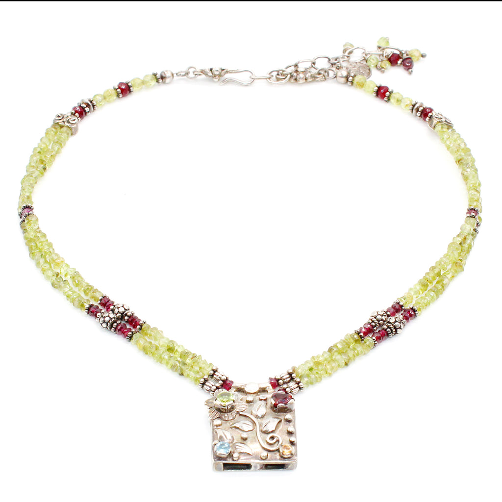 Faten Al Rouby Silver Necklace Peridot and Amethyst