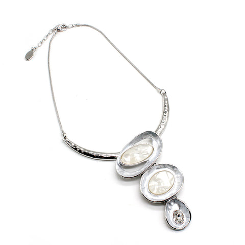 Fashion Necklace Trio White Crystal