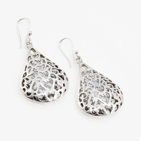 Arabian Jewellery Silver Earrings Ajour Teardrop