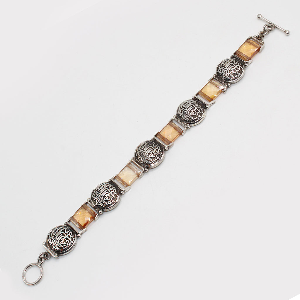 Pure Silver Bracelet with Arabic Calligraphy and Citrine Colour Stone