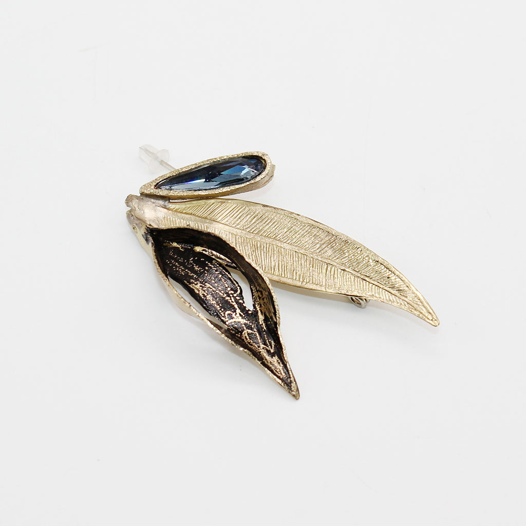Opus Brooch Bronze with Crystal - Blue