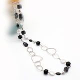 Scarabee Silver Necklace Faceted Onyx and Pearls Long