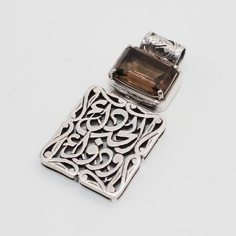 Arabian Silver Jewellery Pendant with Arabic Calligraphy and Stone
