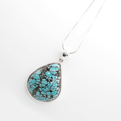 Silver Chain and Pendant Turquoise Pear Shape