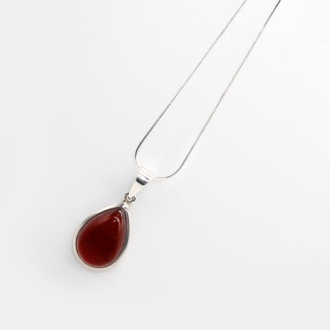 Silver Chain and Pendant Carnelian