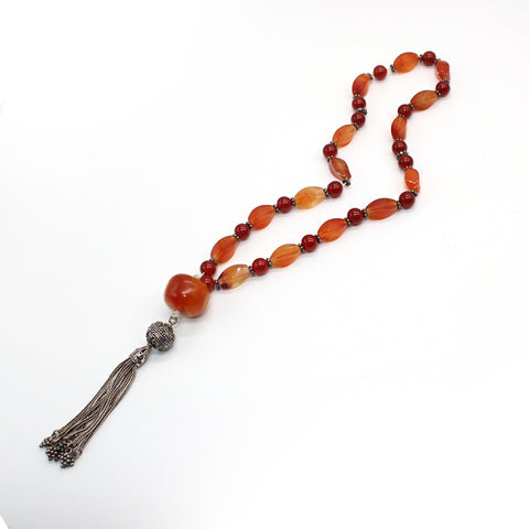 Sterling Silver Misbah Amber and Carnelian