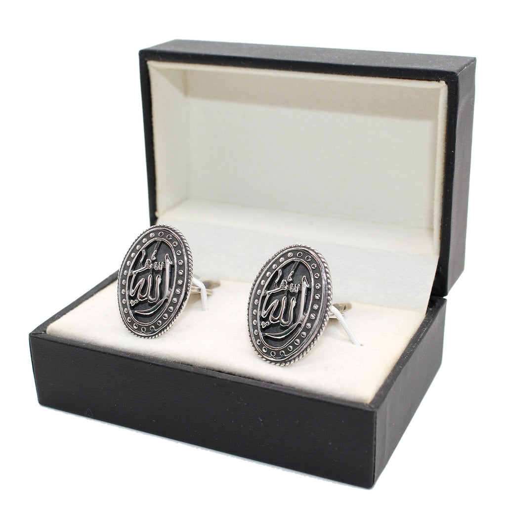 Pure Silver Cufflinks with Arabic Calligraphy