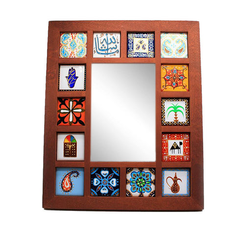 Hand Painted Frame with Mirror and Tiles