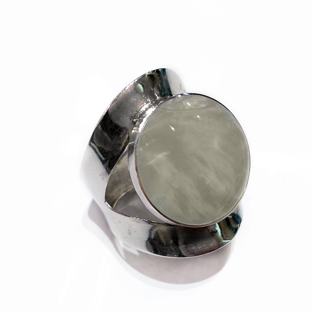 Sterling Silver Ring Mother of Pearl Round Adjustable