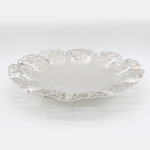 Silver round plate with filigree design