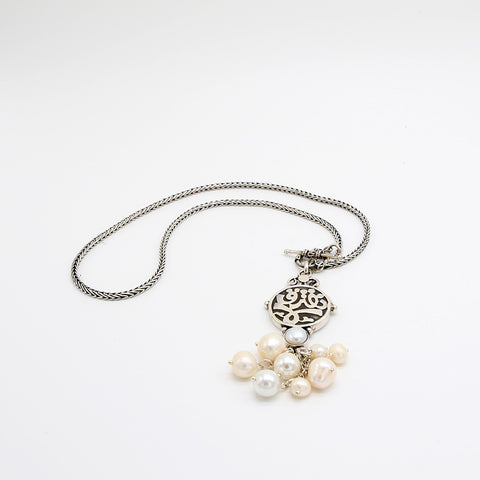 Pure Silver Necklace Roman Chain with Pendant Calligraphy and Pearls