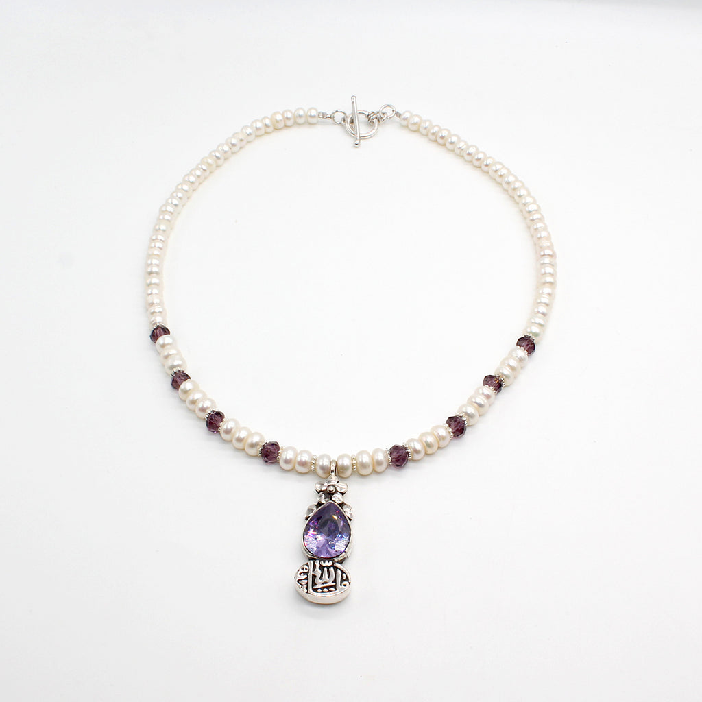 Pure Silver Handcrafted Necklace and Pearl with Pendant Amethyst and Calligraphy