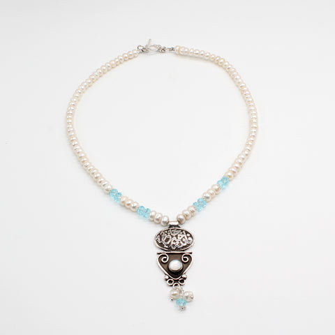 Pure Silver Handcrafted Necklace and Pearl with Pendant Aquamarine and Calligraphy