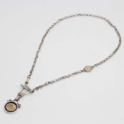 Arabian Jewellery Silver Necklace with Gold - Anchor