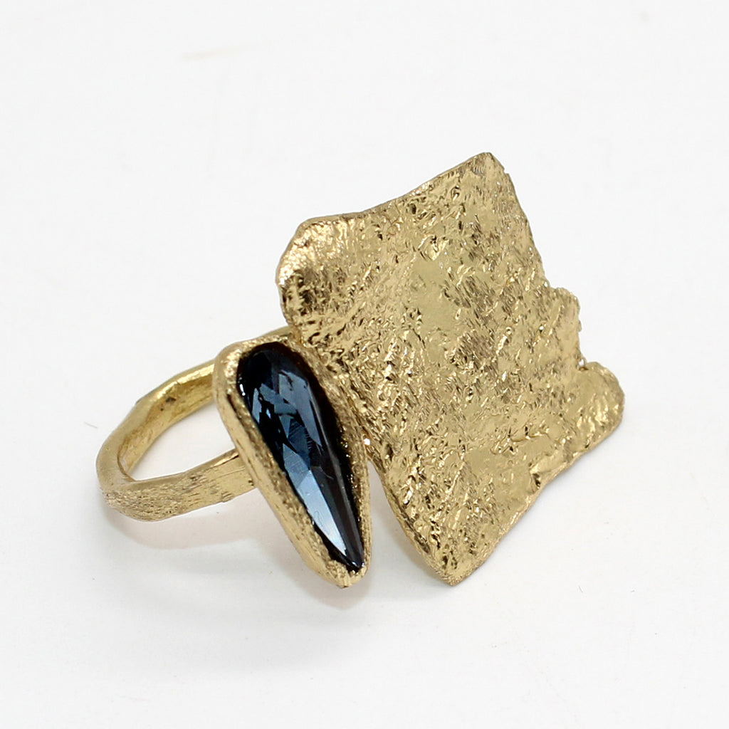 Opus Ring Bronze Square with Blue Crystal