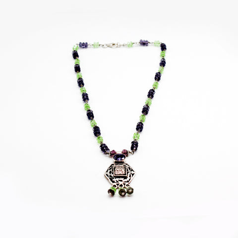 Pure Silver Necklace Peridot and Amethyst with Pendant