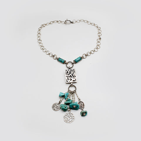 Arabian Jewellery Silver Necklace Turquoise with Pendant