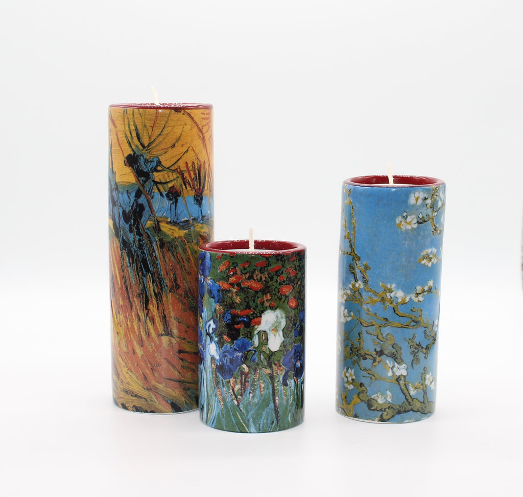 Set of 3 Ceramic Tea Light - Van Gogh - Willows/Blossoms