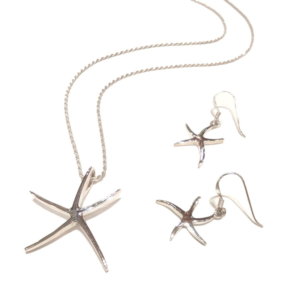 Sterling Silver Set Necklace and Earrings Starfish