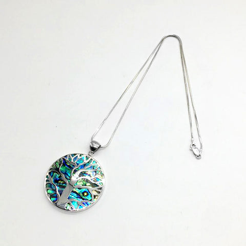 Sterling Silver Necklace with Abalone Pendant