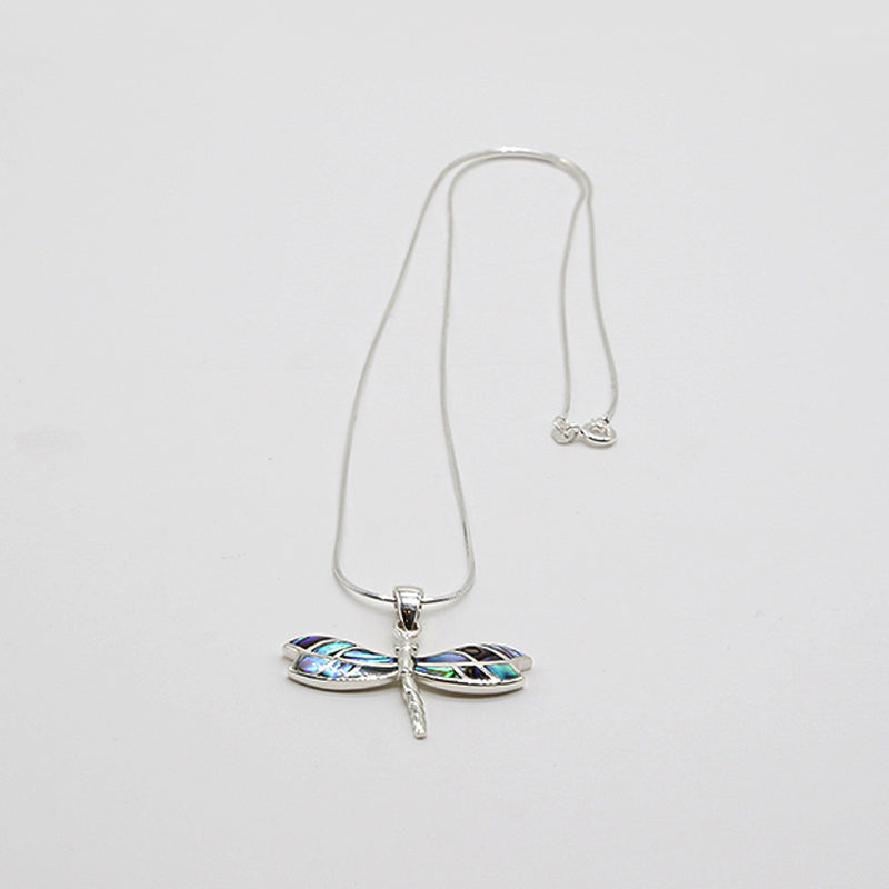 Sterling Silver Necklace Dragonfly Abalone