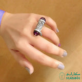 Arabian Silver Jewellery Ring with Arabic Calligraphy and Amethyst Stone